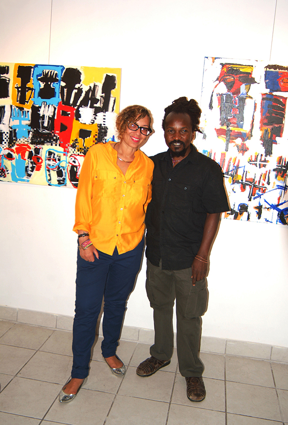 Pamela Edmonds the curator for Shift with artist Chiko Chazunguza