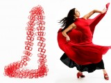 red necklace on the left and woman dancing Flamenco on the right