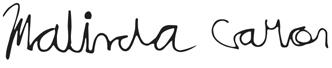 Signature that says Malinda