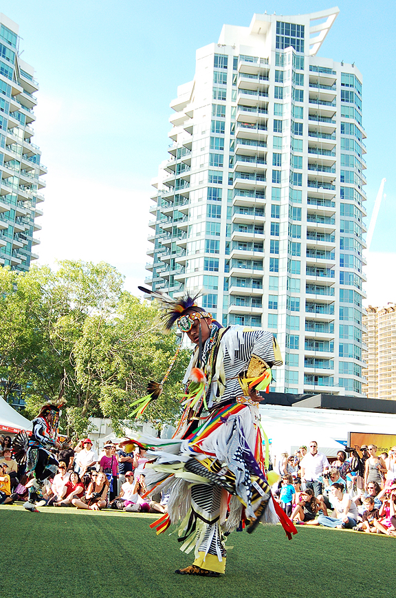 First Nations dancers performing at Harbourfront's Planet Indigenus Festival