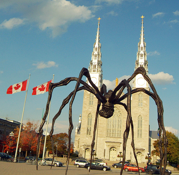 "French artist Louise Bourgeois' sculpture of a spider titled ""Maman"" outside the National Gallery in Ottawa, Canada."