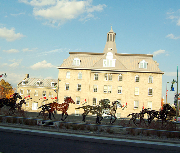 "French-Canadian artist Joe Fafard's sculpture ""Running Horses"" outside the National Gallery, Ottawa, Canada"
