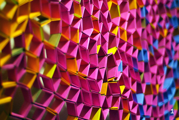 Detail of colourful paper sculpture by Tara Keens-Douglas