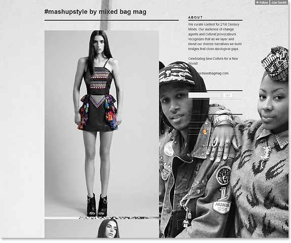 screen capture of tumblr blog with young people of different racial backgrounds where outfits that combine ethnicities.