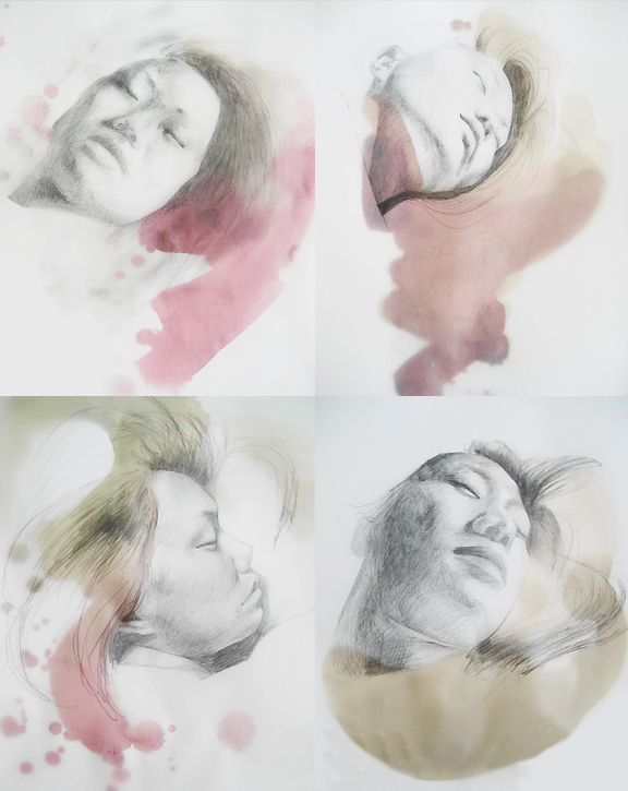 Series of four watercolour and ink self-portraits of artist sleeping