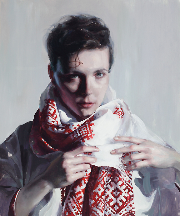 Oil painting of white woman with scarve with red folk embroidery