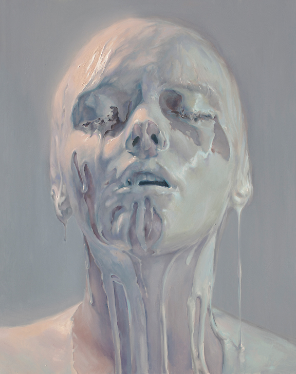 Oil painting of androgynous bald woman with white painting dripping erotically down her head
