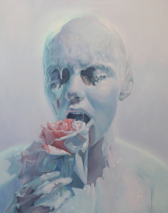 Oil painting of androgynous looking bald white woman with white paint dripping down her face holding a rose in her hand seductively as though she is about to eat it