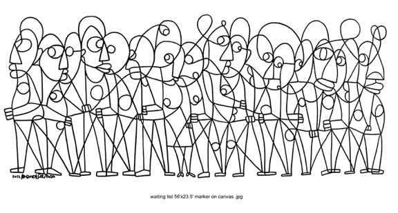 black line drawing of group of figures abstracted on white background