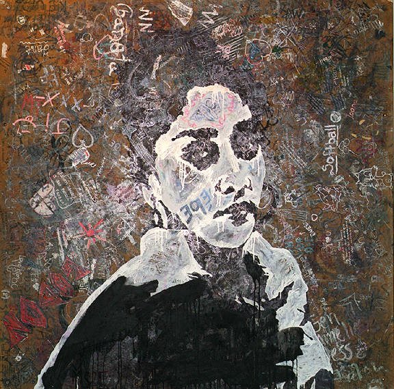 Painting of young woman rendered in white and black on wood covered in scrawls and graffiti by teenagers