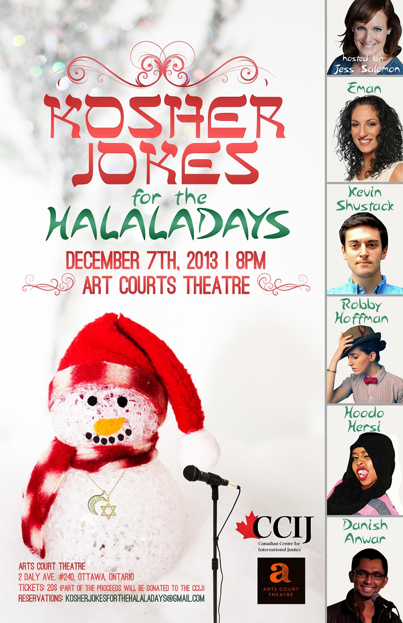 Poster for Kosher Jokes for the Halaladays with snow man in santa hat and a crescent moon and Star of David necklace