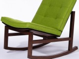 Dark wood rocking chair with cushion