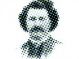 Old archive photograph of Louis Riel with a pixelated effect